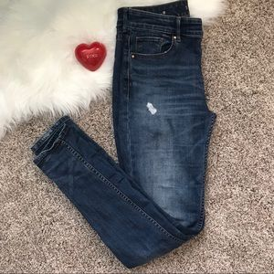 WHBM High Rise Destructed Skinny Jeans